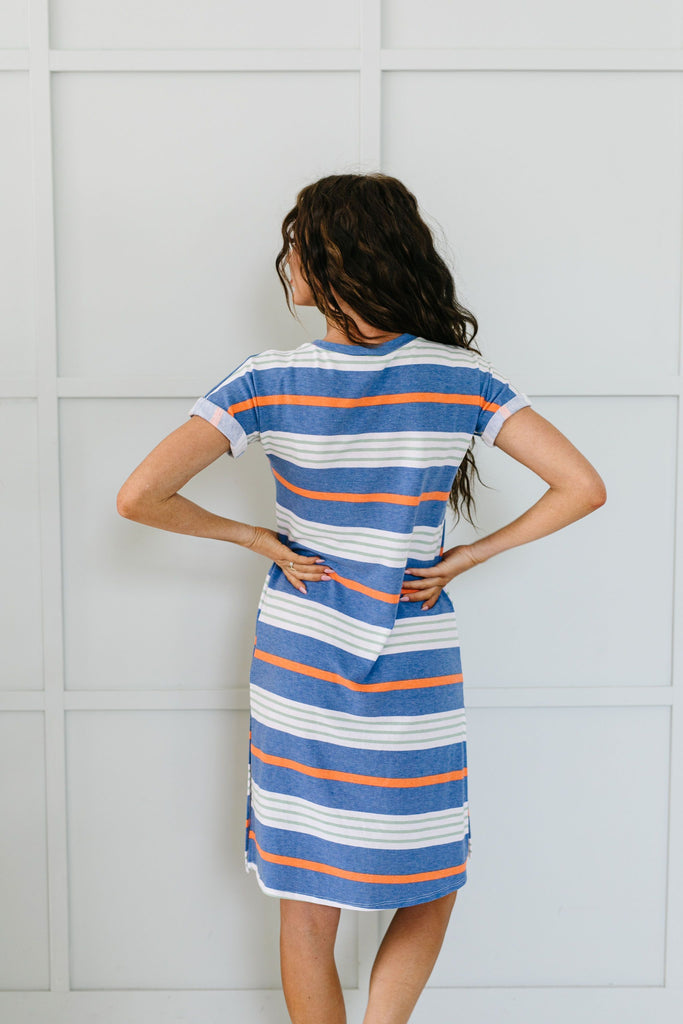 Sunny Day Striped T-Shirt Dress In Blue - 6/2/2020