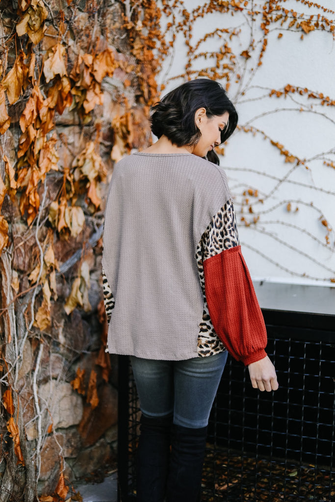 Wild Side Waffle Knit Top