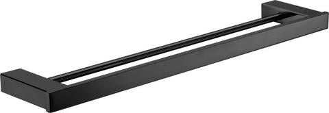 Quadra linear double towel rack Matte black 800mm