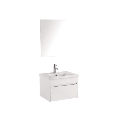 Pc600 wall hung vanity with chrome trim