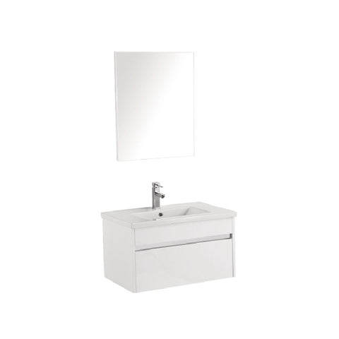 Pc750 wall hung vanity with chrome trim