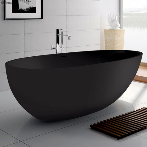 Cast stone solid surface bath Black