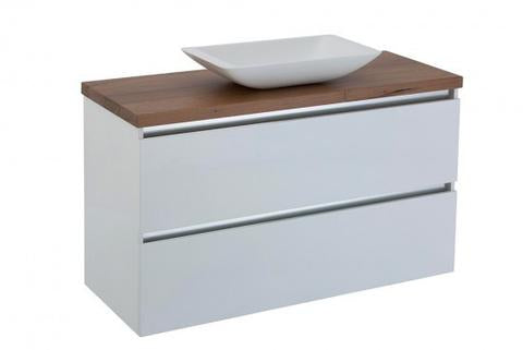 1200 two draw wall hung timber top counter basin