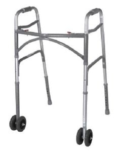 "Bariatric Steel Folding Walker, 5"" Wheels, Heavy Duty Adult Walker, Adjustable"