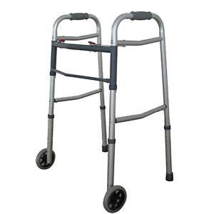 "Dual 2 Button Folding Walker with 5"" Wheels Heavy Duty Professional UP TO 350lbs"