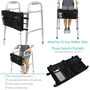 Walker Bag Accessory Tote Caddy Provides Hands Free Storage Attachment Fits All