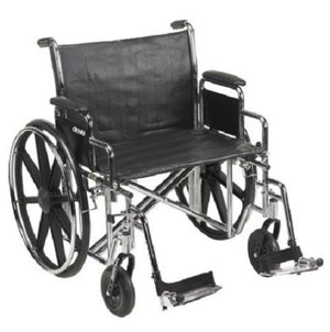 "24"" Bariatric Wheelchair, Steel Frame, Detachable Desk Arm, Swing Away Foot Rest"
