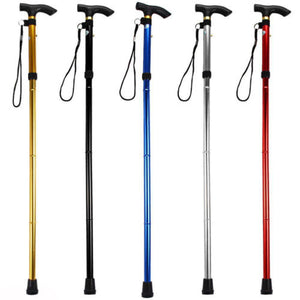 IK- Adjustable Aluminum Metal Cane Walking Stick Folding Column Collapsible Fash