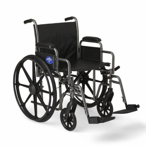 "Medline K2 Basic Wheelchair with 20""x16"" Seat, Swing Away Footrests"