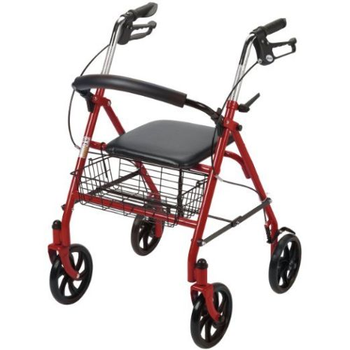 Drive Medical 10257RD-1 Folding Walker Rollator 4 Wheels w/ Padded Seat & Basket