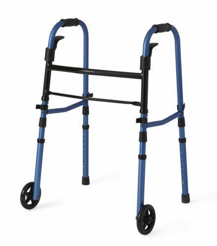 "Medline Compact Folding Paddle Walker with 5"" Wheels, Blue, 1 ea"