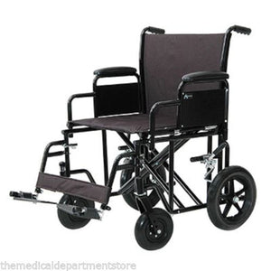 "Heavy Duty Wide Folding Bariatric Transport Wheelchair '22 inch Seat"" 400 lbs."