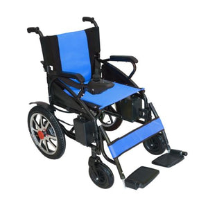 Foldable Lightweight Heavy Duty Lithium Battery Electric Power Wheelchair (Blue)