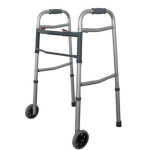 Premium Two Button Easy Folding Walker With 5 Inch Wheels Free Shipping