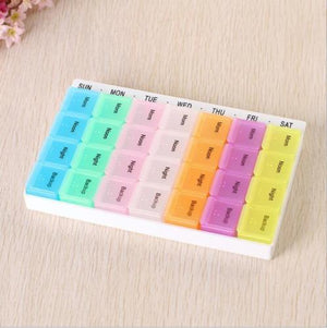 28 Compartment Pill Box 7 Day Medicine Storage Organizer Container Case SHIP US