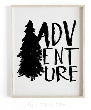 Adventure Brush Script | Textured Cotton Canvas Art Print | VOL25