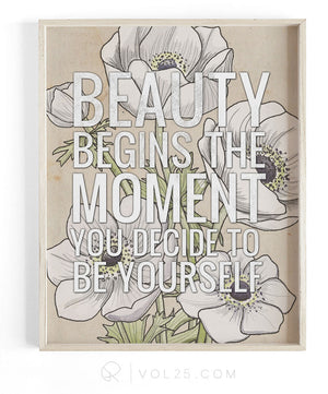 Beauty Begins | Textured Cotton Canvas Art Print | VOL25