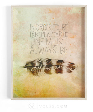Be Different | Textured Cotton Canvas Art Print | VOL25