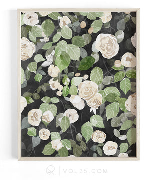 Cascading Roses Reverie Collection | Textured Cotton Canvas Art Print in 4 Sizes | VOL25 VPR02P