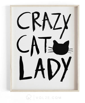 Crazy Cat Lady Brush Script | Textured Cotton Canvas Art Print | VOL25