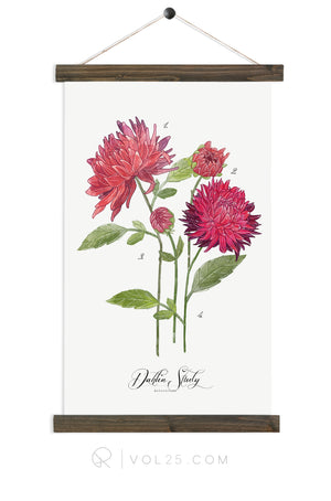Dahlia Study in Scarlet | unique wall hanging art | More options