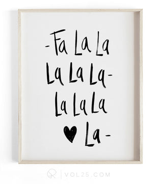 FA LA LA LA |  Textured Cotton Canvas Art Print in 4 Sizes | VOL25