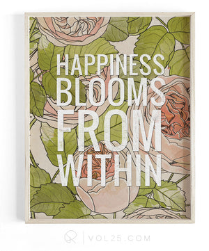 Happiness Blooms | Textured Cotton Canvas Art Print | VOL25
