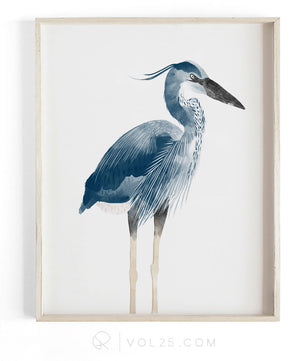 Heron | Textured Cotton Canvas Art Print, 9 sizes | VOL25