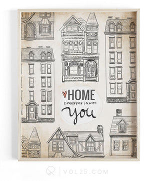 Wherever We Are Together Series | Mixed Houses | Textured Cotton Canvas Art Print | VOL25