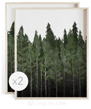 Into The Woods | Curated Art Set | 2 Textured Cotton Canvas Art Prints | VOL25