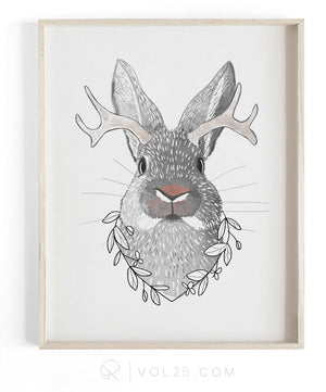 Jackalo the Jackalope | Textured Cotton Canvas Art Print | VOL25