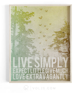 Live Simply | Textured Cotton Canvas Art Print | VOL25