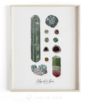 Minerals and Gems Vol.1 | Scientific Textured Cotton Canvas Art Print | VOL25