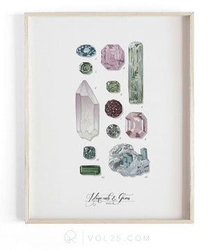 Minerals and Gems Vol.2 | Scientific Textured Cotton Canvas Art Print | VOL25