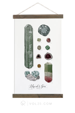 Minerals & Gems Study Vol.1 | Scientific Canvas Wall hanging | More Options VPM101 - vol25