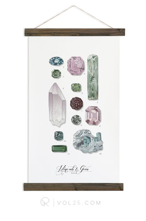 Minerals & Gems Study Vol.2 | Scientific Canvas Wall hanging | More Options VPM102 - vol25