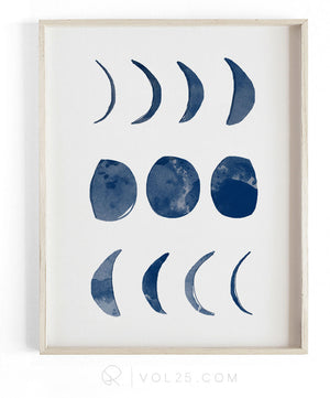 Phases Of The Moon | Textured Cotton Canvas Art Print  | VOL25