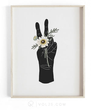 Peace and Daisies | Textured Cotton Canvas Art Print  | VOL25