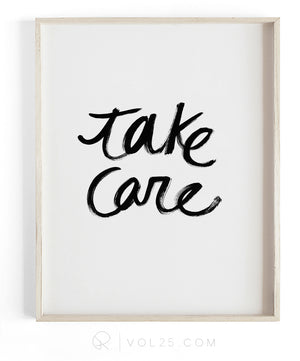 Take Care | Textured Cotton Canvas Art Print available in large scale sizes
