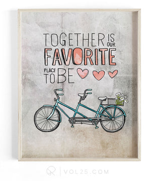 Together Is Our Favorite Place To Be | Textured Cotton Canvas Art Print | VOL25