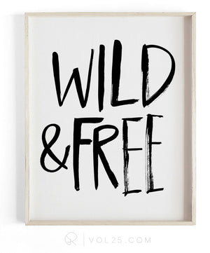 Wild and Free Brush Script | Textured Cotton Canvas Art Print in 4 Sizes | VOL25
