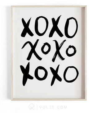 XOXO Brush Script | Textured Cotton Canvas Art Print in 4 Sizes | VOL25