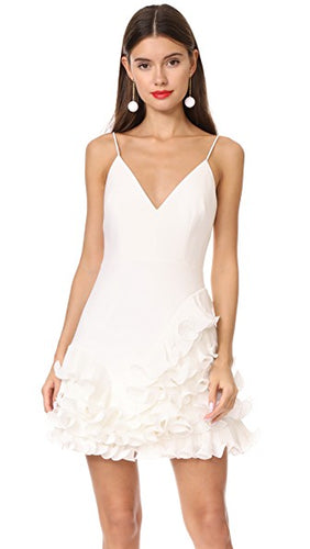 Golda Ruffle Ivory Mini Dress by La Maison Talulah