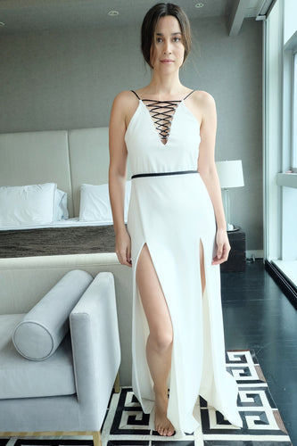 White with a Black Lining Dress