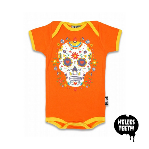 Vibrant Sugar Skull Onesie - Helles Teeth NZ
