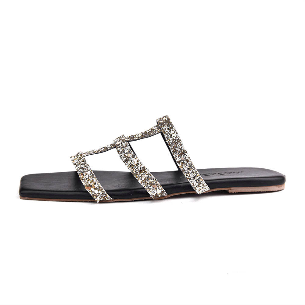 Milana - Black Strappy Flat Sandals