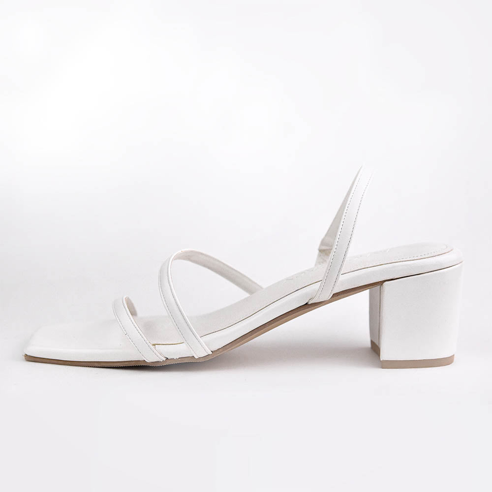 Elisa - White Strappy Block Heels