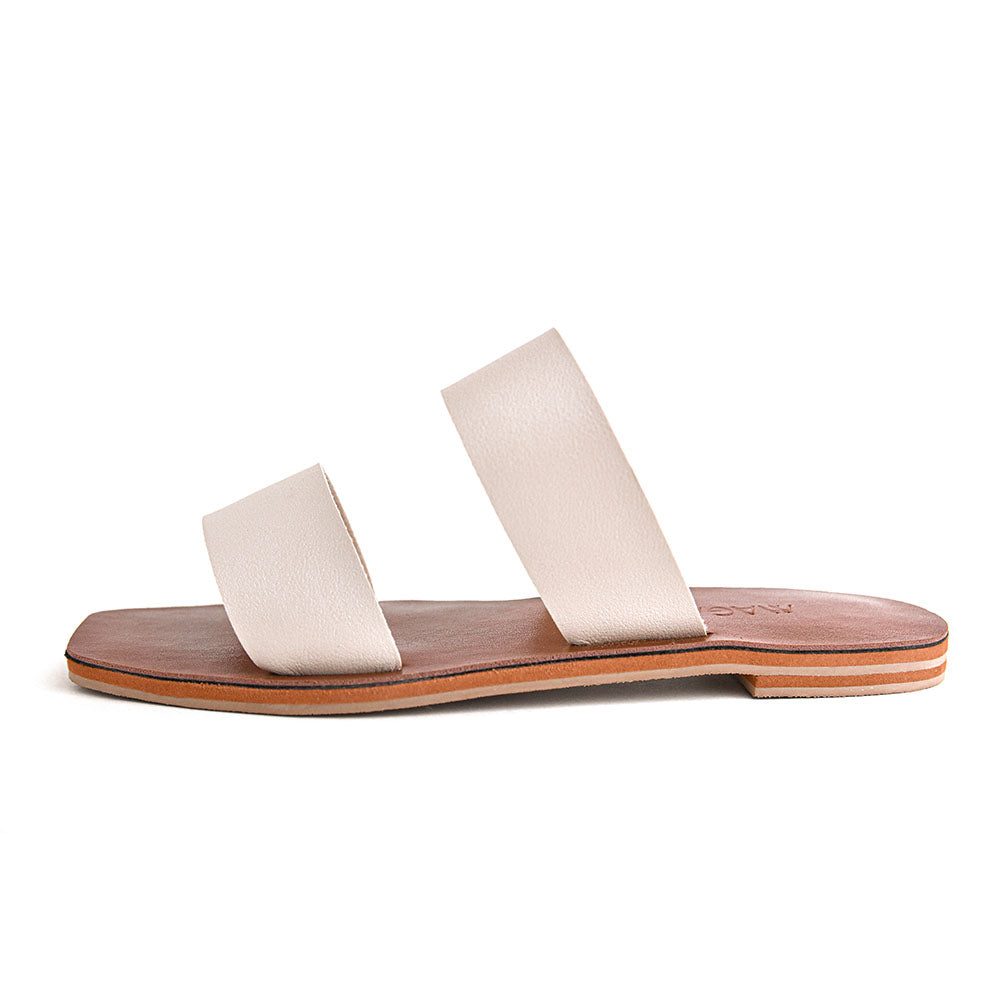 Elena - Off White Minimalist Leather Flat Sandals