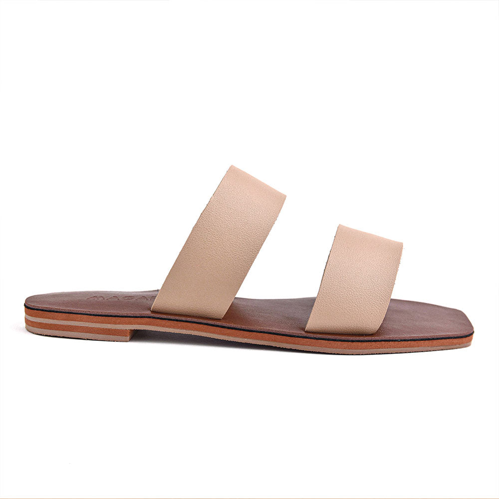 Elena  - Nude Minimalist Leather Flat Sandals