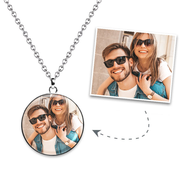 Circle Photo Necklace - 925 Sterling Silver - MPNC201